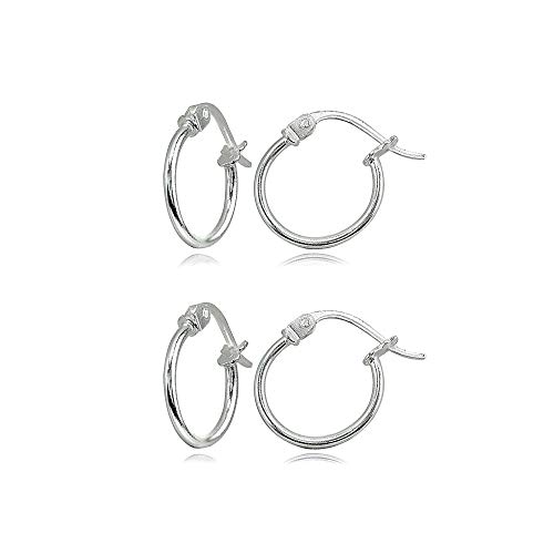 (2 Pair Set Sterling Silver Tiny Small 12mm High Polished Round Thin Lightweight Unisex Click-Top Hoop Earrings)