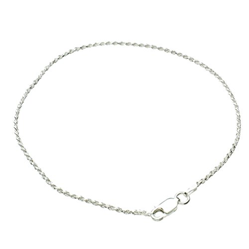 Joyful Creations Sterling Silver 1.5mm Diamond-Cut Rope Nickel Free Chain Anklet Italy, - Ankle Silver Bracelet 9 Inch