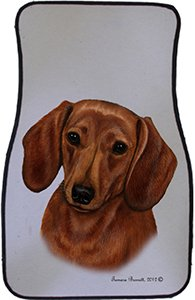 Red Dachshund Car Floor Mats - Carepeted All Weather Universal Fit for Cars & Trucks