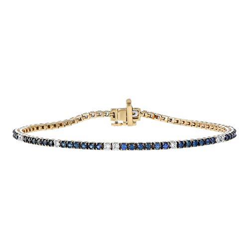 "Olivia Paris 14K Gold 1 1/2 Carat Blue Sapphire and Diamond Bracelet (3/8 cttw, H-I, SI2-I1), 7.25"""