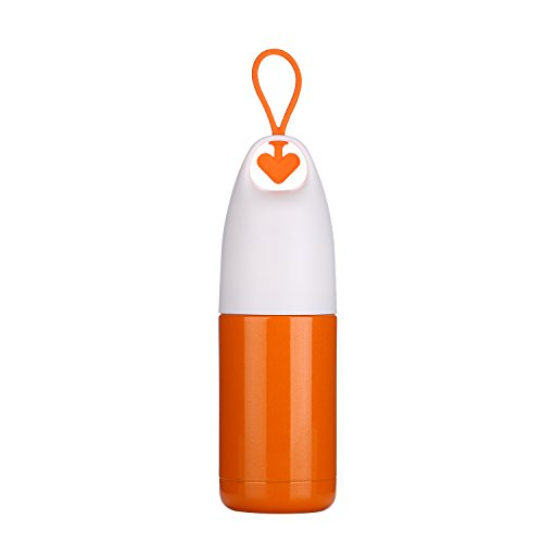 Shaped Heart Water (Heart Shaped Thermos 10 Oz(300ml) Vacuum Cup Insulated Water Bottle for Women, Men & Teens Girls Boys Kids Student Cup School Travel Outdoor Office by INVODA (Orange))