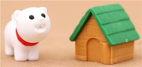 Goma de borrar perro blanco caseta verde de Iwako: Amazon.es: Juguetes y juegos