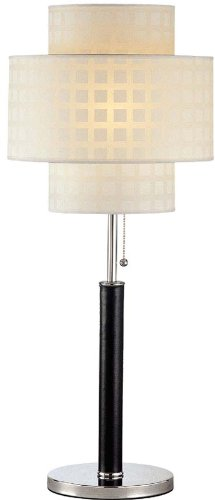 Lite Source LS-20290 Olina Table Lamp, Leather Pole with White Grid Pattern Shade