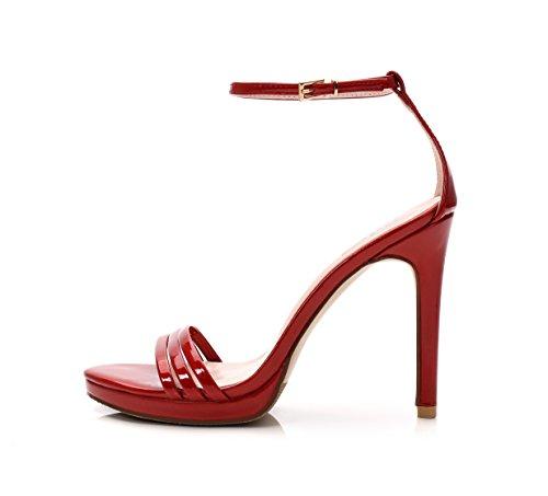 Sandalias Tacón Toe 8 El Alto Sandalias De para Una Muy Cm Mayor GAOLIM De rojo Zapatos Ranurados Es Hueco Simple Mujeres con Chica Dew Las Fina de Alto Patines con Agua ExR1pq
