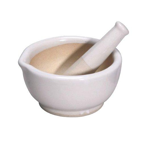 Porcelain Mortar & Pestle, Glazed, 2.5