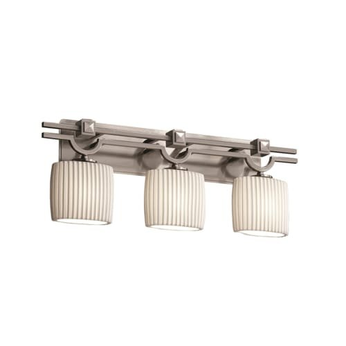 - Justice Design Group - Limoges Collection - Argyle Bath Bar - Oval - Brushed Nickel Finish with Pleats Shade