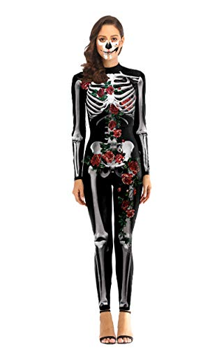 URVIP Women Halloween Skeleton 3D Print Costume Stretch Skinny Catsuit Jumpsuit WB142-005 L -