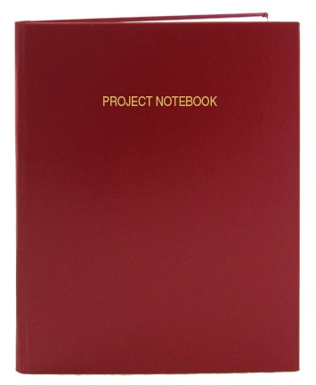 BookFactory Red Project Notebook - 96 Pages (.25'' Ruled Format), 8'' x 10'', Red Imitation Leather Cover, Smyth Sewn Hardbound (LIRPE-096-SLR-A-LRT8) by BookFactory