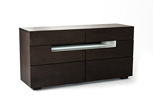 HomeRoots Office Contemporary Brown Oak and Grey Dresser w/LED Light