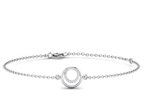 Or Blanc 9 ct Bracelet Diamant en forme de rond, 0.11 Ct Diamant, GH-SI, 0.77 grammes.