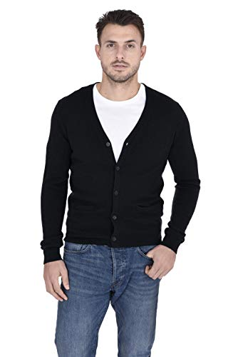 (Cashmeren Men's 100% Pure Cashmere Classic Knit Soft Button Front Long Sleeve Cardigan Sweater (Black, XX-Large))