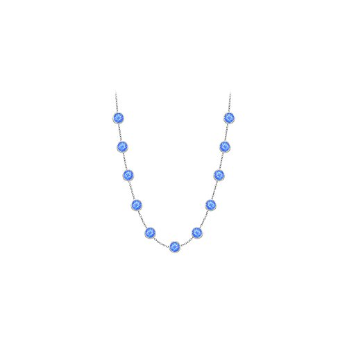 Blue Created Sapphires Necklace on 14K White Gold Bezel Set 3.00 ct.tw ()