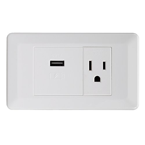 Magnadyne WC-101W 110VAC 15amp Power Outlet USB 5VDC Charging Port White UL Listed -