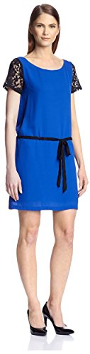 SOCIETY NEW YORK Women's Lace Short Sleeve Dress, Royal/B...