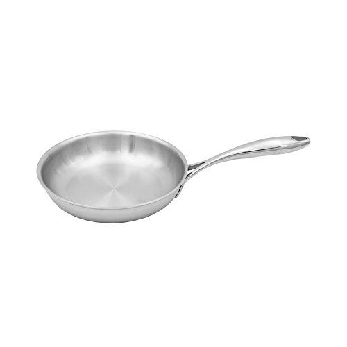 """Tuxton Home THBCF1-SS8-M Duratux Tri-Ply 8"""" Dishwasher and Oven Safe Open Frypan, 8"""", Stainless Steel"""