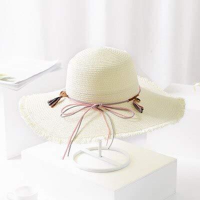 LONLLWK Sunhat Vintage Bow Decoration Straw Hats Floppy Wide Large Sun Hat Fashion Fringe Shells Beads Beach Hats Panama Summer Hat for Women