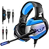 Gaming Headset for PS4, PC, Xbox One(Adapter Needed), ONIKUMA Noise Cancelling Over Ear Headphones with Mic, LED Lights, Bass Surround, Soft Memory Earmuffs for Laptop Mac Nintendo Switch Games
