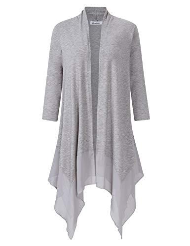 Clearlove Women's Striped Chiffon Asymmetric Splicing Open Front Drape Sweater Cardigan Tops Light Grey ()