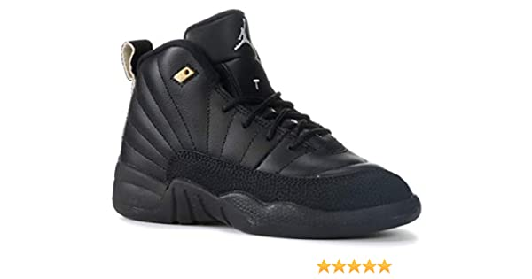 buy online d8d44 720df Amazon.com   Nike Air Jordan Retro 12 The Master BP Preschool P.S Black  White Black Metallic Gold 151186-013   Basketball
