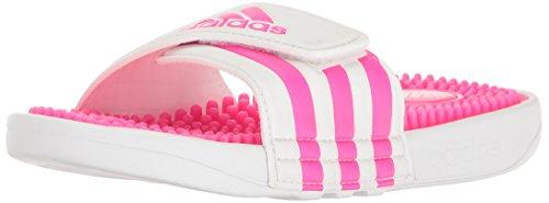 adidas Performance Girls' Adissage K Sandal, White/Shock Pink/White, 11 M US Little Kid