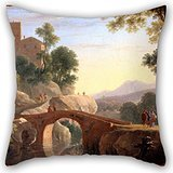 18 X 18 Inches / 45 By 45 Cm Oil Painting Van Swanevelt, Herman - Italian Landscape With Bridge Cushion Cases,double Sides Is Fit For Kitchen,kids Girls,home,indoor,chair,kids (Tom And Jerry Notebook)