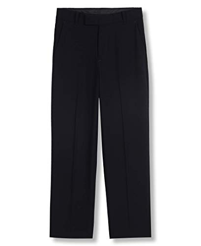 Calvin Klein Boys' Husky Bi-Stretch Flat Front Dress Pant, Navy, 10