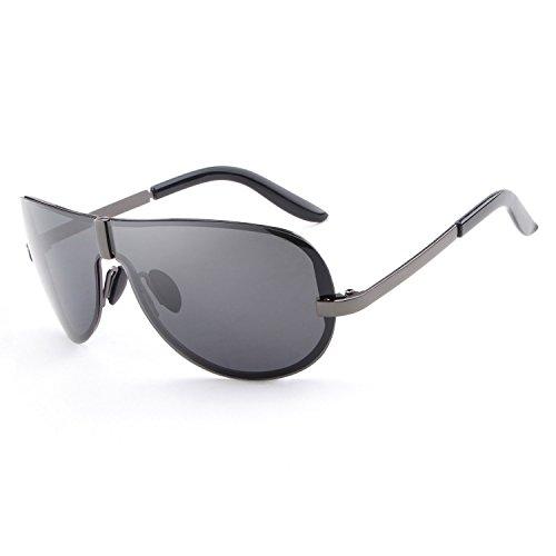 HDCRAFTER Men's Fashion Oversized Rimless Polarized Outdoor Driving Sunglasses UV400 Anti-Reflective - Frames Glasses 70s