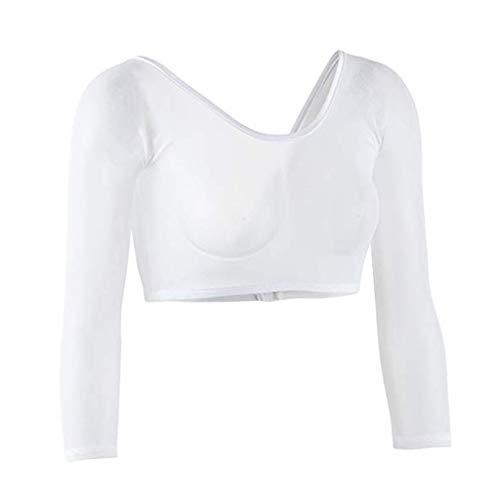 Keliay Bargain Women Both Side Wear Sheer Plus Size Seamless Arm Shaper Crop Top Shirt Blouses (Apparel Azalea)