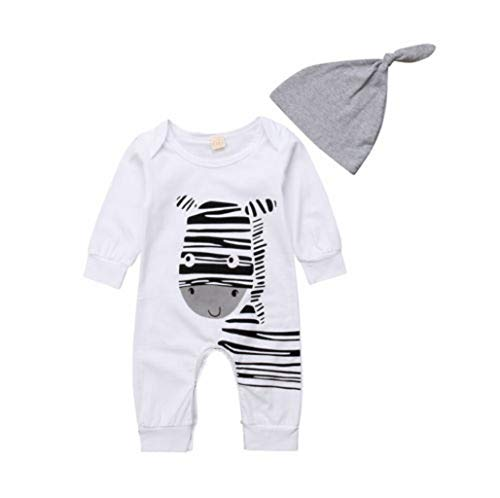 (Soft Newborn Cotton Baby Boys Girls Clothing Romper Long Sleeve Animals Jumpsuit Hat Outfits Clothes 0-18M White19 3M)
