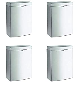 Bobrick 270 Contura Sanitary Napkin Receptacle, Rectangular, Stainless Steel, 1gal (Pack of 4)