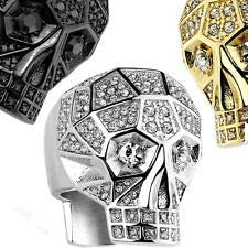 Anillos de acero inoxidable con diseño de calavera con cristales pavimentados y facetados, color negro, talla Z