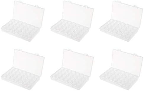 小物収納ケース 透明ボックス プラスチック製 頑丈 収納用 パーツ入れ 28グリッド 透明 6個セット
