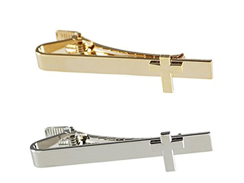 Men's Tie Bar Cross On Flat Bar (Gold Tie Bar + Silver Tie Bar) (Religious Accessories)