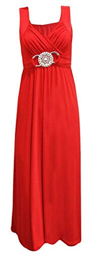 New Ladies Womens Long Evening Maxi Dress Buckle Party Dress Plus Size#(Red US 22-24)