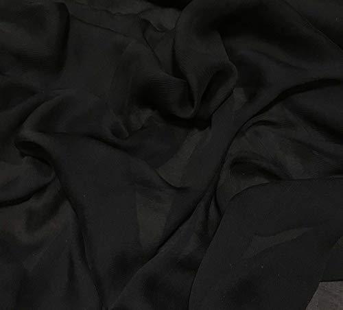 (Black - Crinkle Silk Chiffon Fabric)