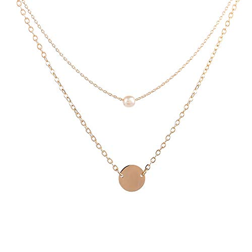 Turandoss Disc Pearl Choker Necklace for Women - 14K Gold Filled Womens Disk Pearl Choker Necklace, 13