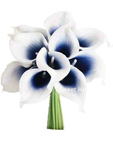 Sweet Home Deco Latex Real Touch 15 Artificial Calla Lily 10 Stems Flower Bouquet for Home/Wedding (Navy Blue Picasso)