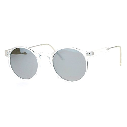 SA106 Retro Clear Frame Keyhole mirrored Lens Sunglasses Silver - Frame Sunglasses Silver