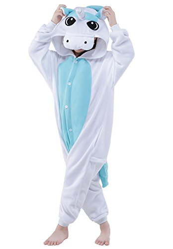 Halloween Child Pajamas Animal Cosplay Costume Anime Makeup Partywear Jumpsuit Outfit-Blue Unicorn,125 -