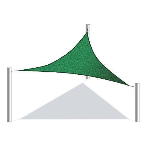 ALEKO 12x12x12 Foot Triangular Sun Sail 3 Rings Shade Net UV Block Fabric Patio Outdoor Canopy Sun Shelter, Green