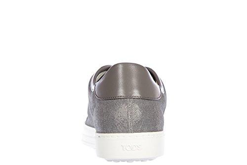 Tod's chaussures baskets sneakers femme en cuir cassetta allacciata argent