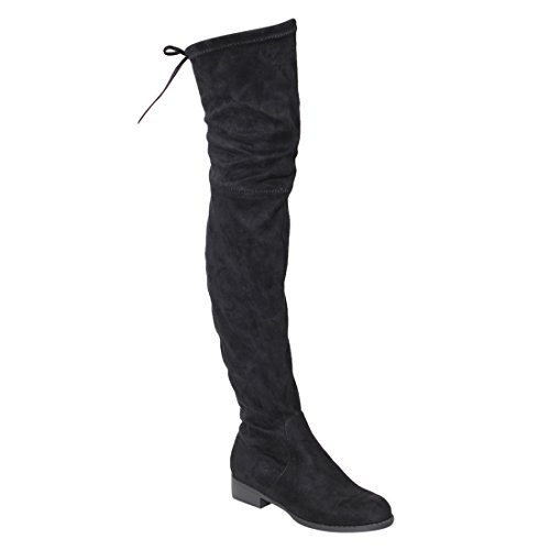 BESTON GF59 Women Drawstring Tie Low Heel Thigh High Stretch Boots Half Size Big, Color Black, - Knee Over The Flat Boots