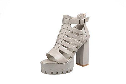 Gray Peep AgooLar Solid Heels Sandals Zipper Material Women's High Toe Soft HSv6O