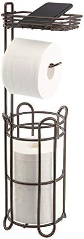 Toilet Paper Roll Holder Stand with Storage Shelf Bathroom Accessories Tissue Paper Dispenser Free Standing Bathroom Storage Organization Metal Bronze Keenove