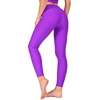 AVVA High Waist Yoga Leggings for Women - Compression Tummy Control Pants for Workout and Running (S, Purple)