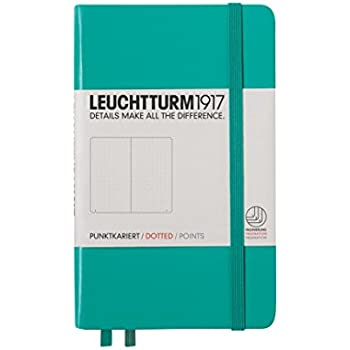 "Leuchtturm1917 Classic Hardcover Dotted Pocket Size Notebook Emerald, 3.55"" x 5.95"""