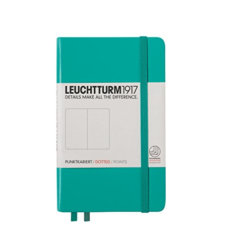 Leuchtturm1917 A6 Pocket Dotted Notebook- Emerald, 185 numbered pages