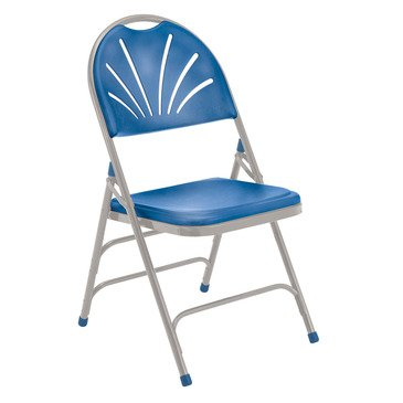 National Public Seating 1100 Series Polyfold Fan Back Chair Triple Brace Double Hinge in Blue, Gray [Set of 4]