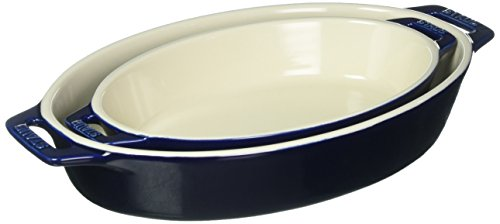 Staub 40508-632 Ceramics Oval Baking Dish Set, 2-piece, Dark Blue ()