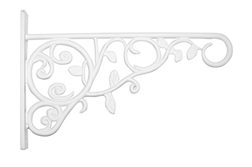 Panacea Plant Bracket with Leaves, White, 9